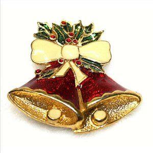 Vintage Brooch Christmas Bells Cloisonne Red Gold